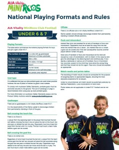 AIA Vitality MiniRoos Playing Formats and Rules